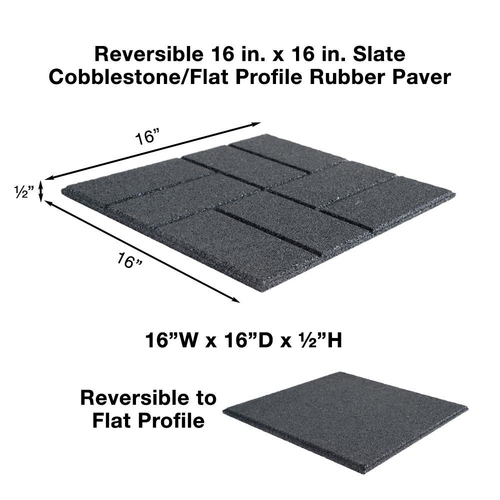 Envirotile 24 In X 24 In Xl Brick Black Rubber Paver 40