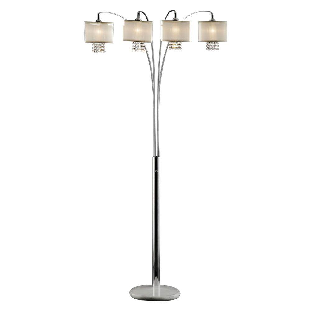 Ok Lighting 84 In Silver Simple Elegance Arch Lamp Ok