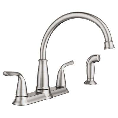 Brecklyn 2-Handle Standard Kitchen Faucet with Side Sprayer in Spot Resist Stainless