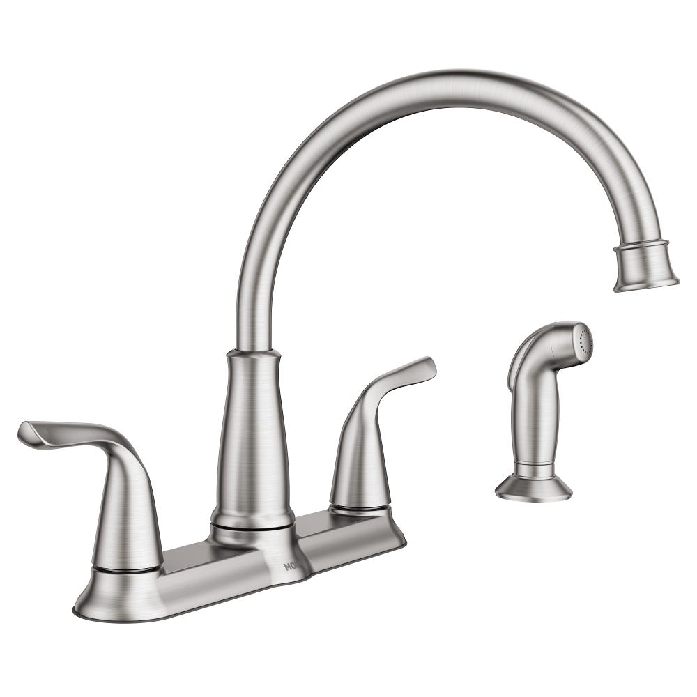 MOEN Brecklyn 2-Handle Standard Kitchen Faucet with Side Sprayer in ...