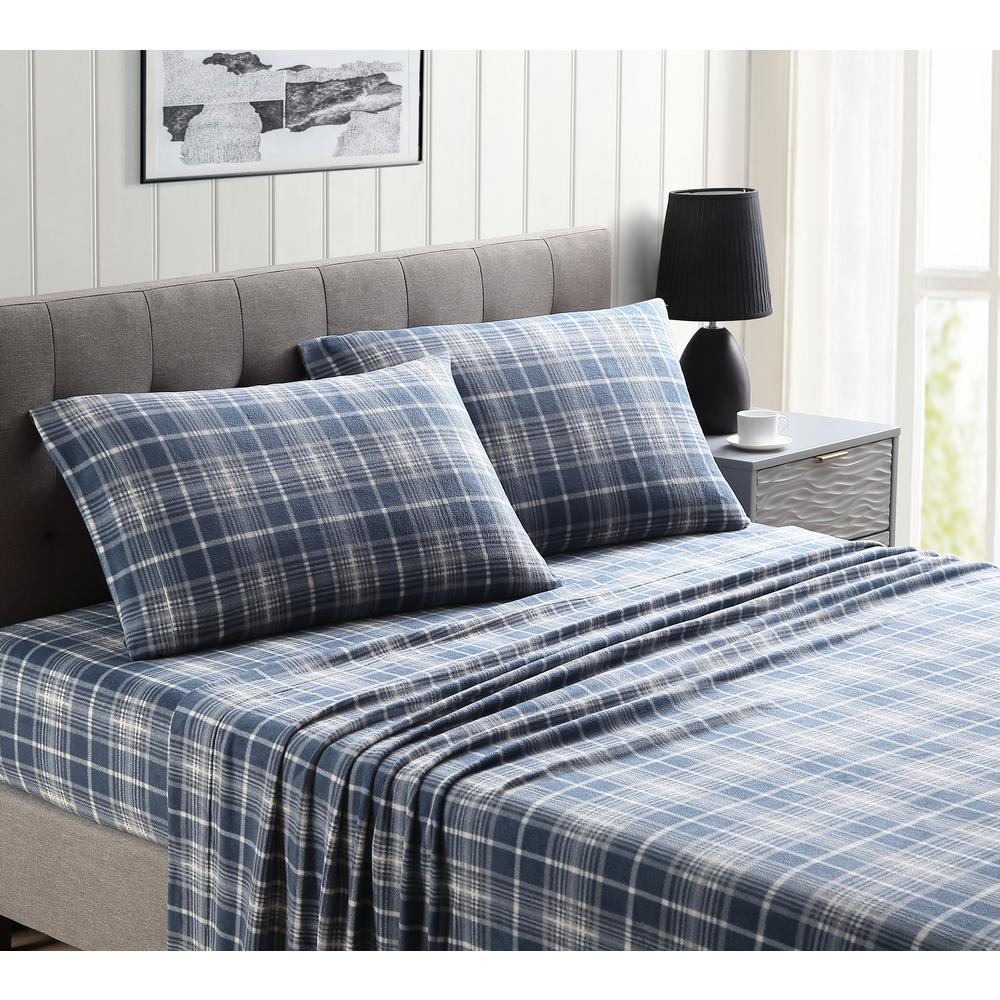 Morgan Home Blue and Grey Plaid Ultra Plush Fleece Full Sheet Set
