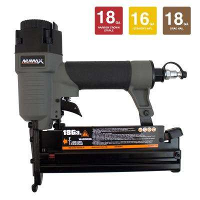 Pneumatic 18 and 16-Gauge 3-in-1 Nailer and Stapler