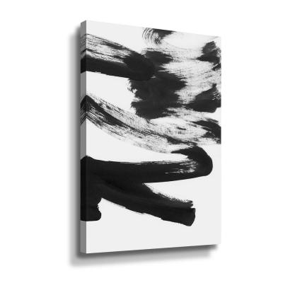 'Black & white strokes 5' by  Iris Lehnhardt Canvas Wall Art