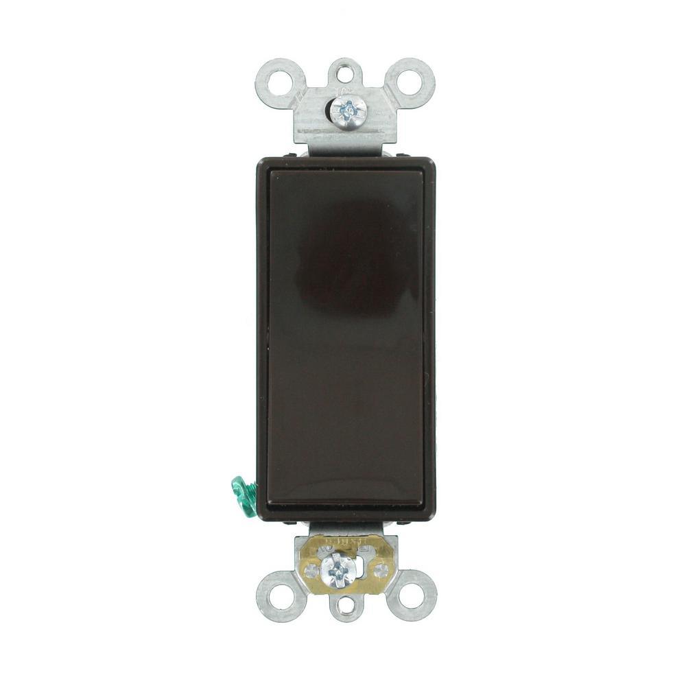 20 Amp Decora Plus Commercial Grade Single Pole Rocker Switch, Brown