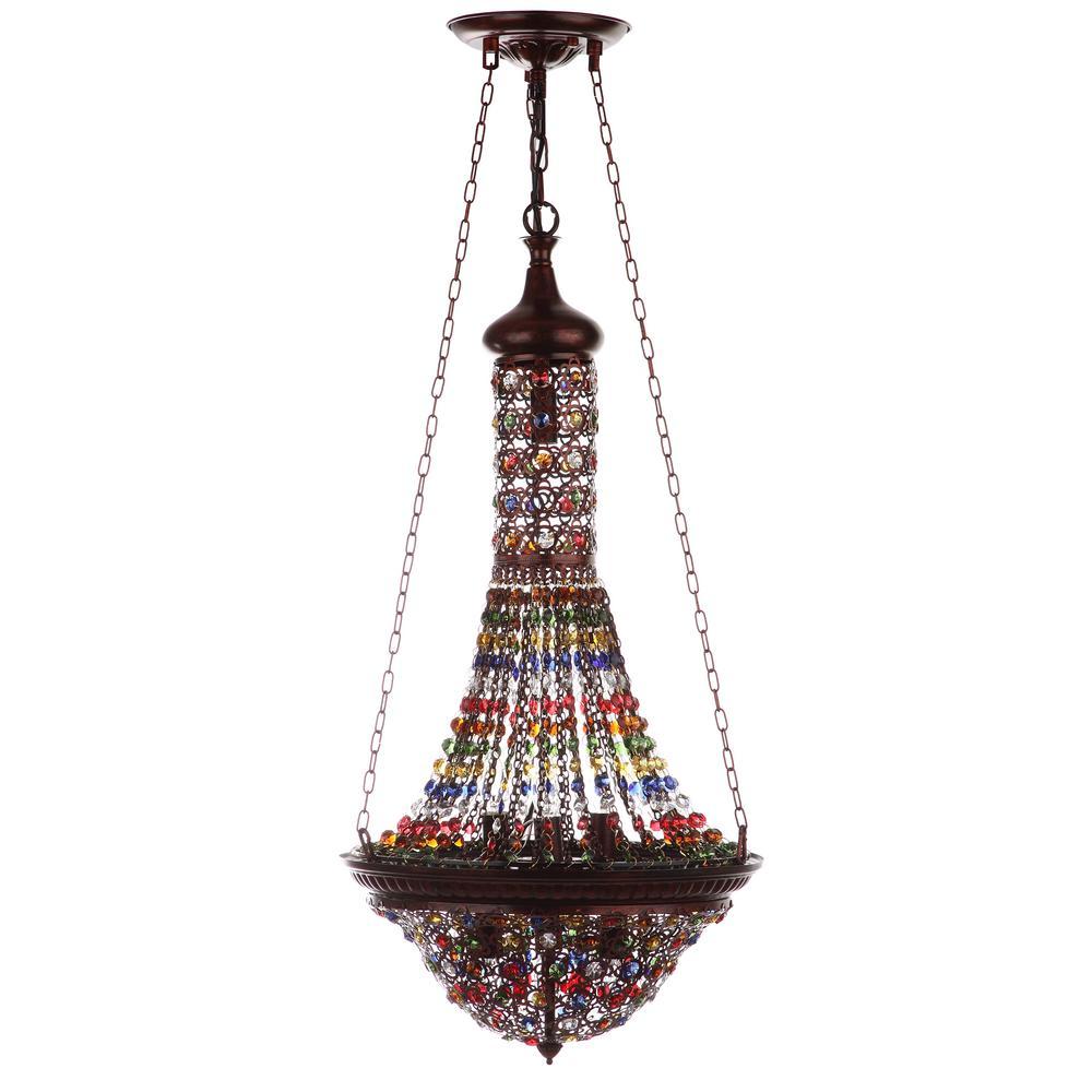 Safavieh Moroccan Gentle 7-Light Dark Bronze/Multicolor Pendant
