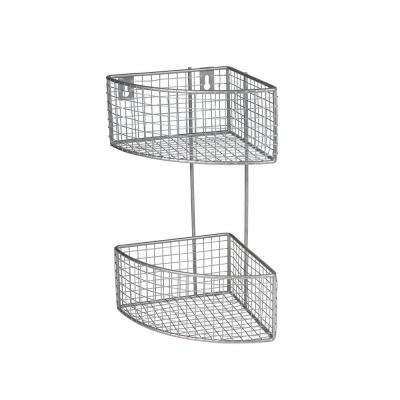 10.125 in. W x 7.375 in. D x 14.125 in. H 2-Tier Corner Basket in Satin Nickel Powder Coat