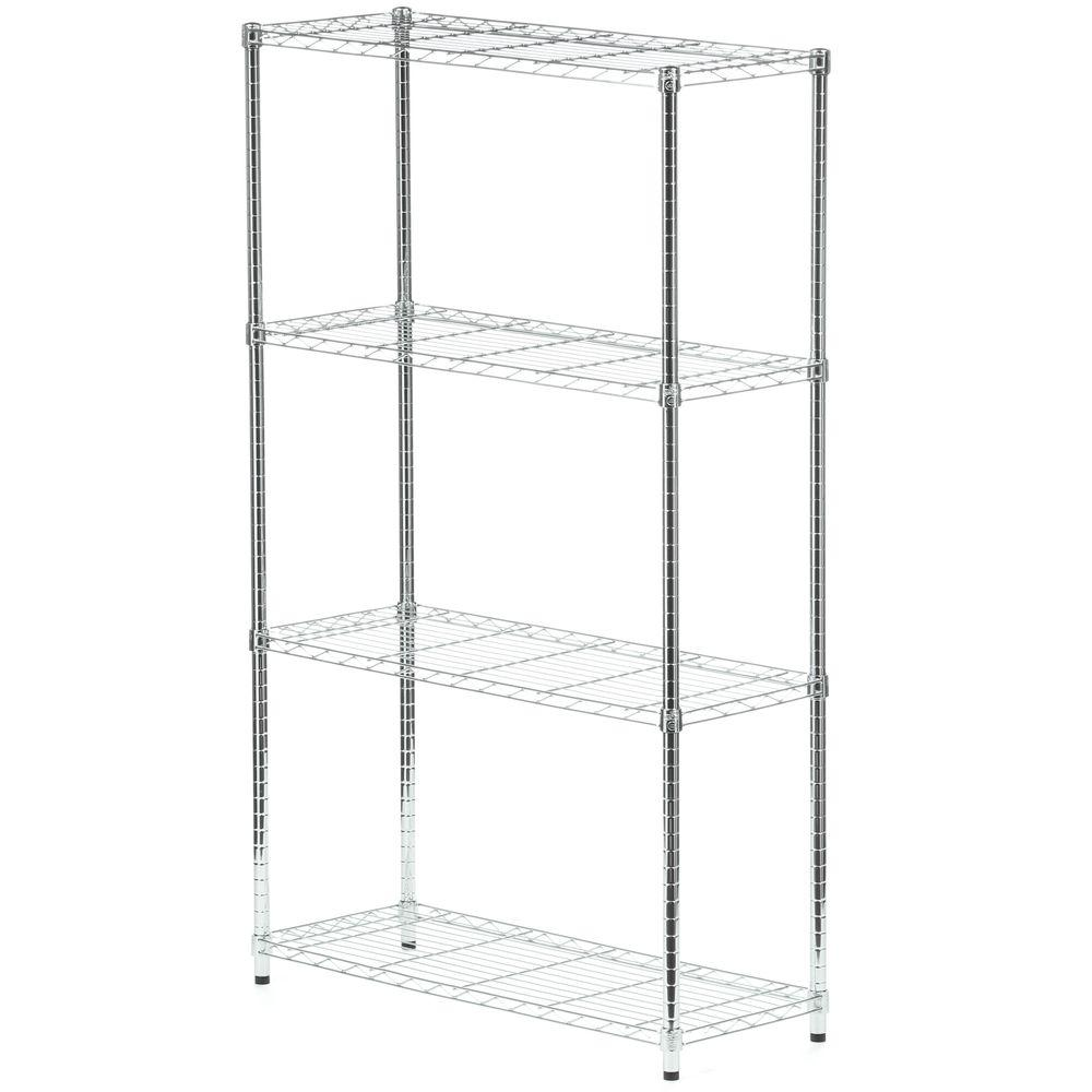 Honey-Can-Do 4-Shelf 60 in. H x 36 in. W x 14 in. D Steel Shelving Unit in Chrome