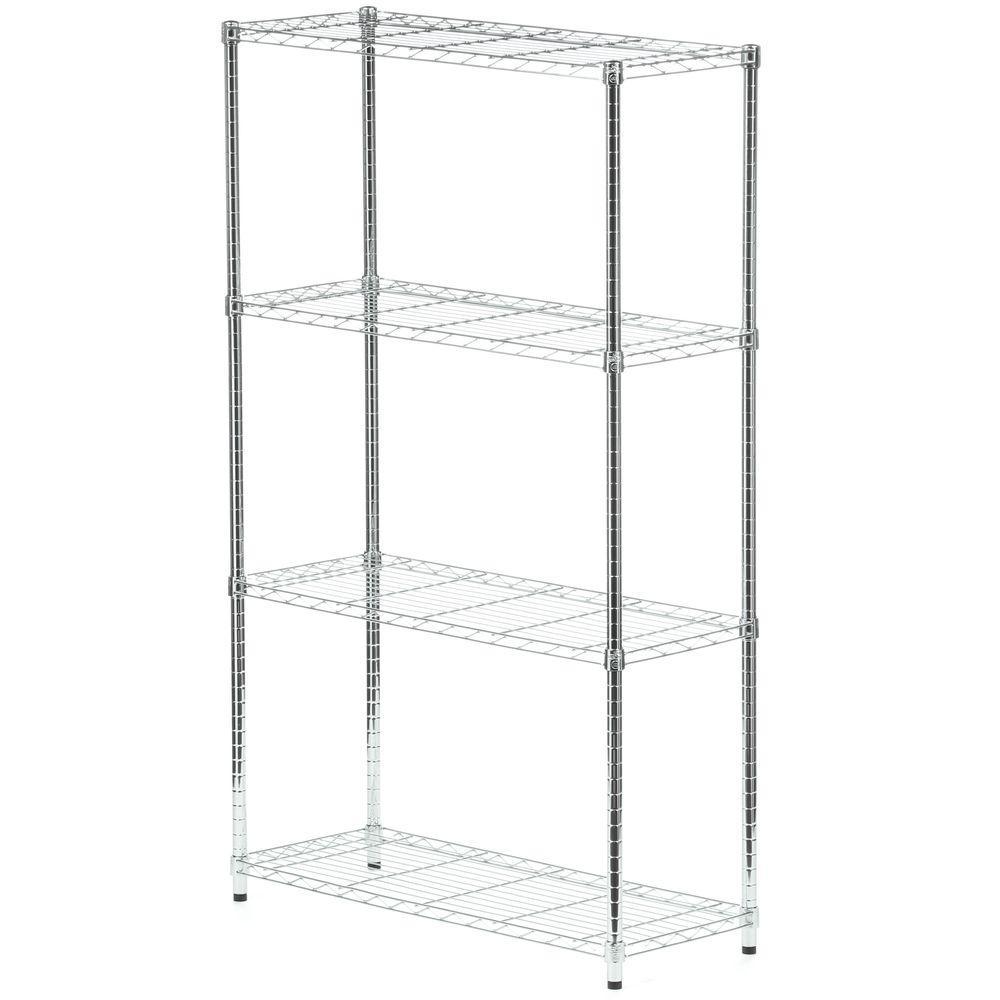 4-Shelf 60 in. H x 36 in. W x 14 in. D Steel Shelving Unit in Chrome