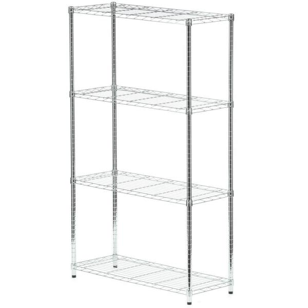 Chrome 4-Tier Steel Wire Shelving Unit (14 in. W x 60 in. H x 36 in. D)