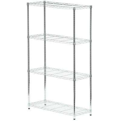 4-Shelf 60 in. H x 36 in. W x 14 in. D Steel Shelving Unit in Chrome