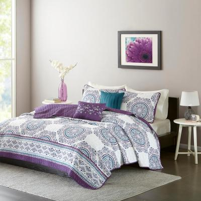 Mikay 5-Piece Purple Full/Queen Medallion Coverlet Set