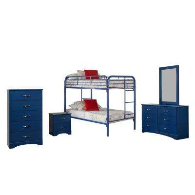 Royal Blue Collection 179K5T 5-Piece Royal BlueTwin Bedroom Set