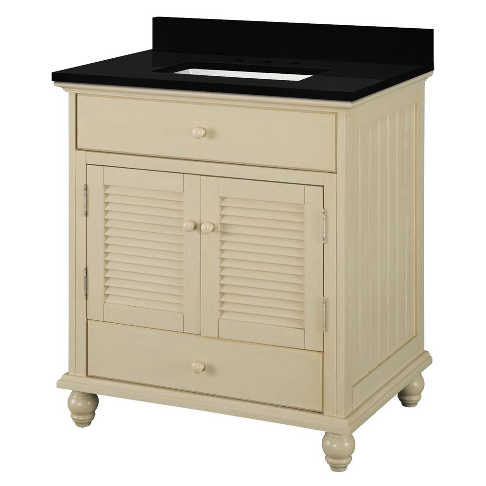 Home Decorators Collection 31 in. W x 22 in. D Bath Vanity in Antique White with Granite Vanity Top in Midnight Black with Trough White Basin was $749.0 now $449.4 (40.0% off)