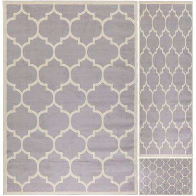 Paterson Collection Contemporary Moroccan Trellis Design Gray 5 ft. x 7 ft. 3-Piece Rug Set