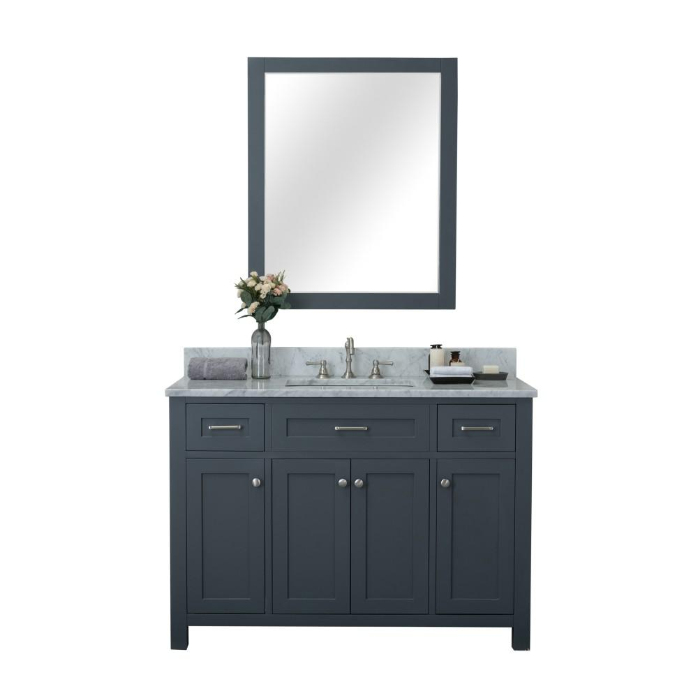 Design Element Redmond 48 in. W x 22 in. D Bath Vanity in Gray with Marble Vanity Top in White with White Basin and Mirror