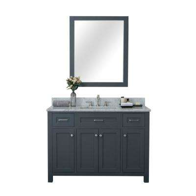 Redmond 48 in. W x 22 in. D Bath Vanity in Gray with Marble Vanity Top in White with White Basin and Mirror