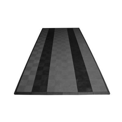 8.3 ft. x 17.5 ft. Grey with Black Stripes Ribtrax Smooth Eco Flooring, Single Car Pad Kit