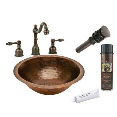 All-in-One Round Under Counter Hammered Copper Bathroom Sink in Oil Rubbed Bronze