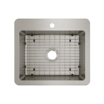 Avenue Stainless Steel 25 in. Single Bowl Dual Mount Kitchen Sink Kit