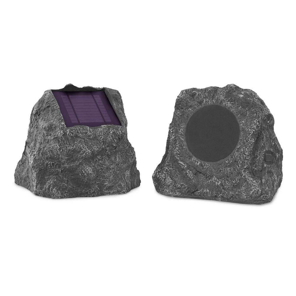 Pair Of Solar Charging Bluetooth Outdoor Rock Speakers