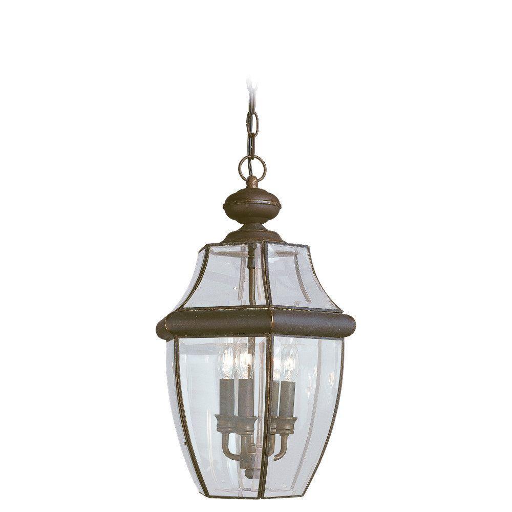 Sea Gull Lighting Lancaster 3-Light Outdoor Antique Bronze Hanging Pendant Fixture
