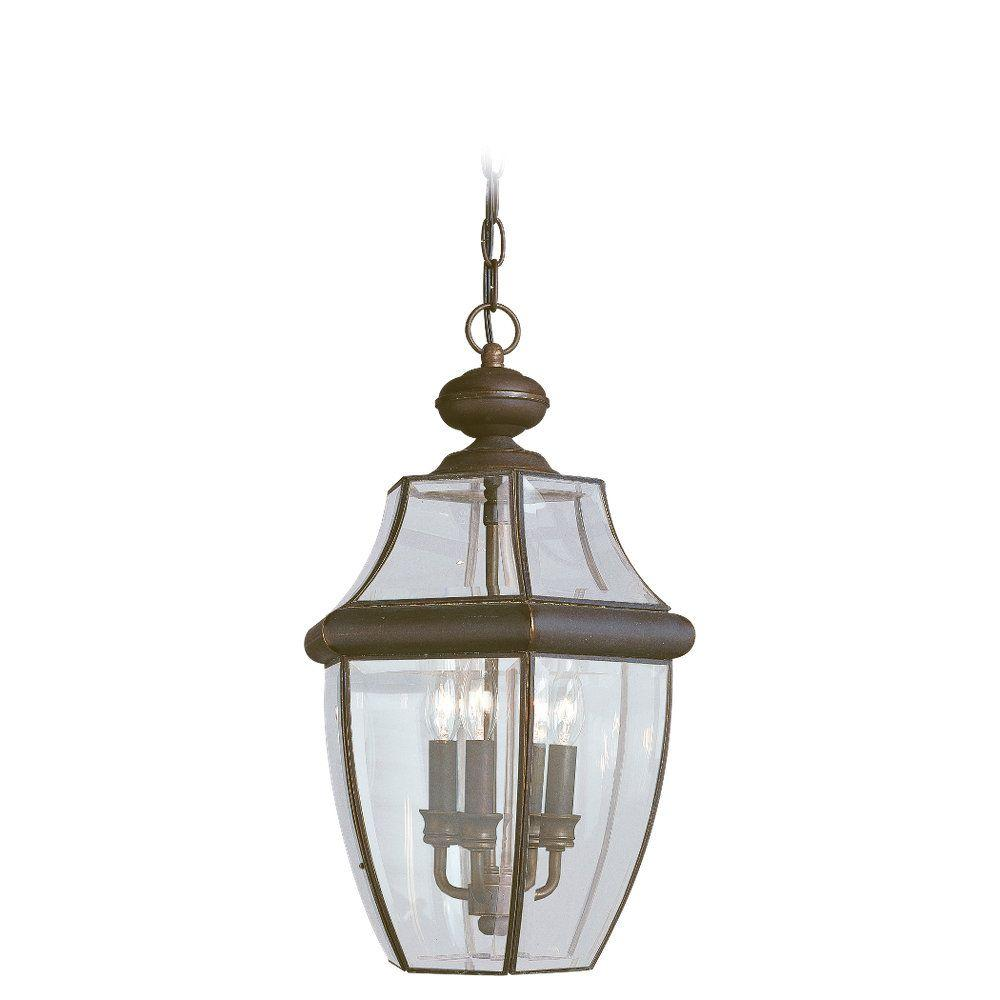 Sea gull lighting lancaster 3 light outdoor antique bronze hanging pendant fixture