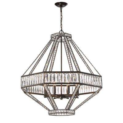 Bellezza Collection 8 Light Bronze Chandelier With Crystal Shade