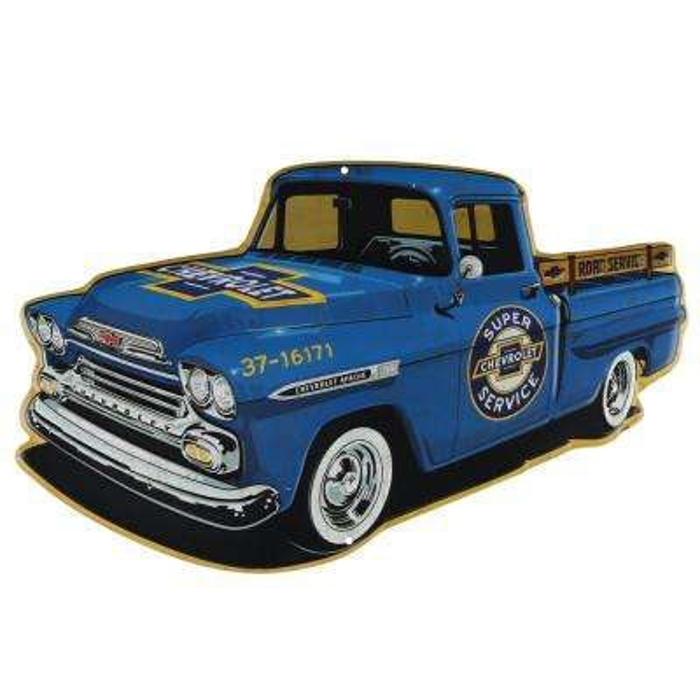 Vintage Truck Embossed Tin Decorative Sign