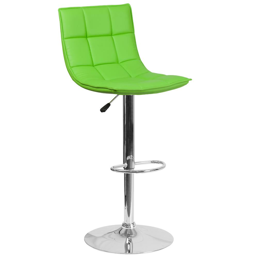 Flash Furniture Adjustable Height Green Cushioned Bar