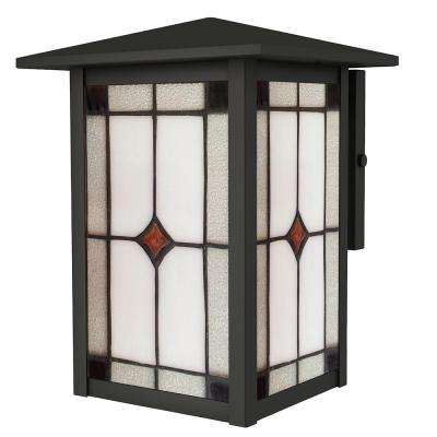 9 in. Mayan 1-Light Outdoor Mica Black Wall Mount Sconce