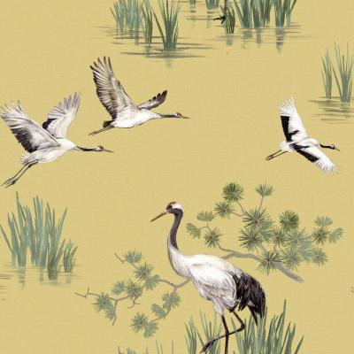 Cranes in Water Wallpaper Yellow Paper Strippable Roll (Covers 57 sq. ft.)