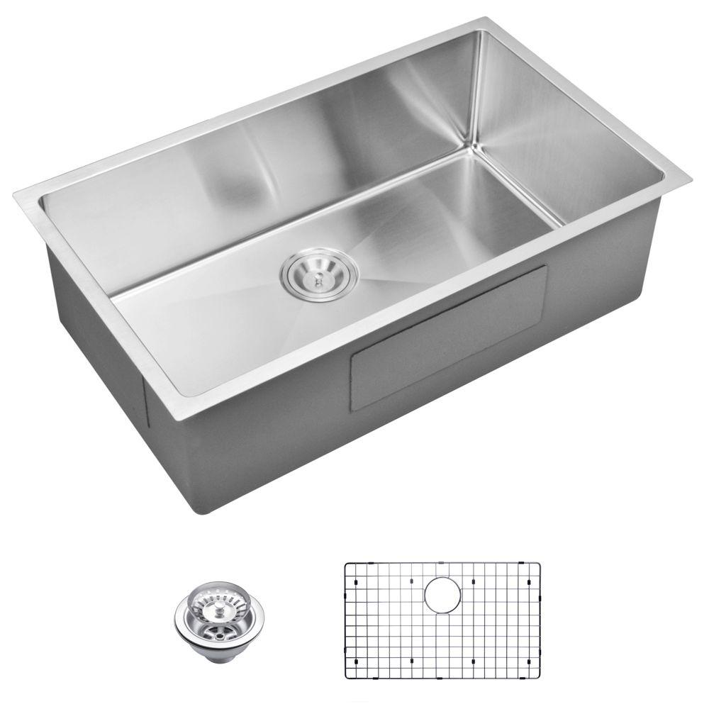 Undermount Small Radius Stainless Steel 32.in 0-Hole Single Bowl Kitchen Sink