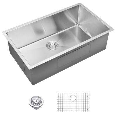 Undermount Small Radius Stainless Steel 32.in 0-Hole Single Bowl Kitchen Sink with Strainer and Grid in Satin Finish