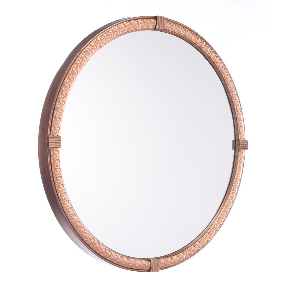 Madi Circle Brown Wall Mirror