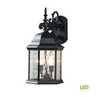 9.5 in. 2-Light Oil-Rubbed Bronze LED Decorative Water Glass Outdoor Lantern with Fixed Flame Tip
