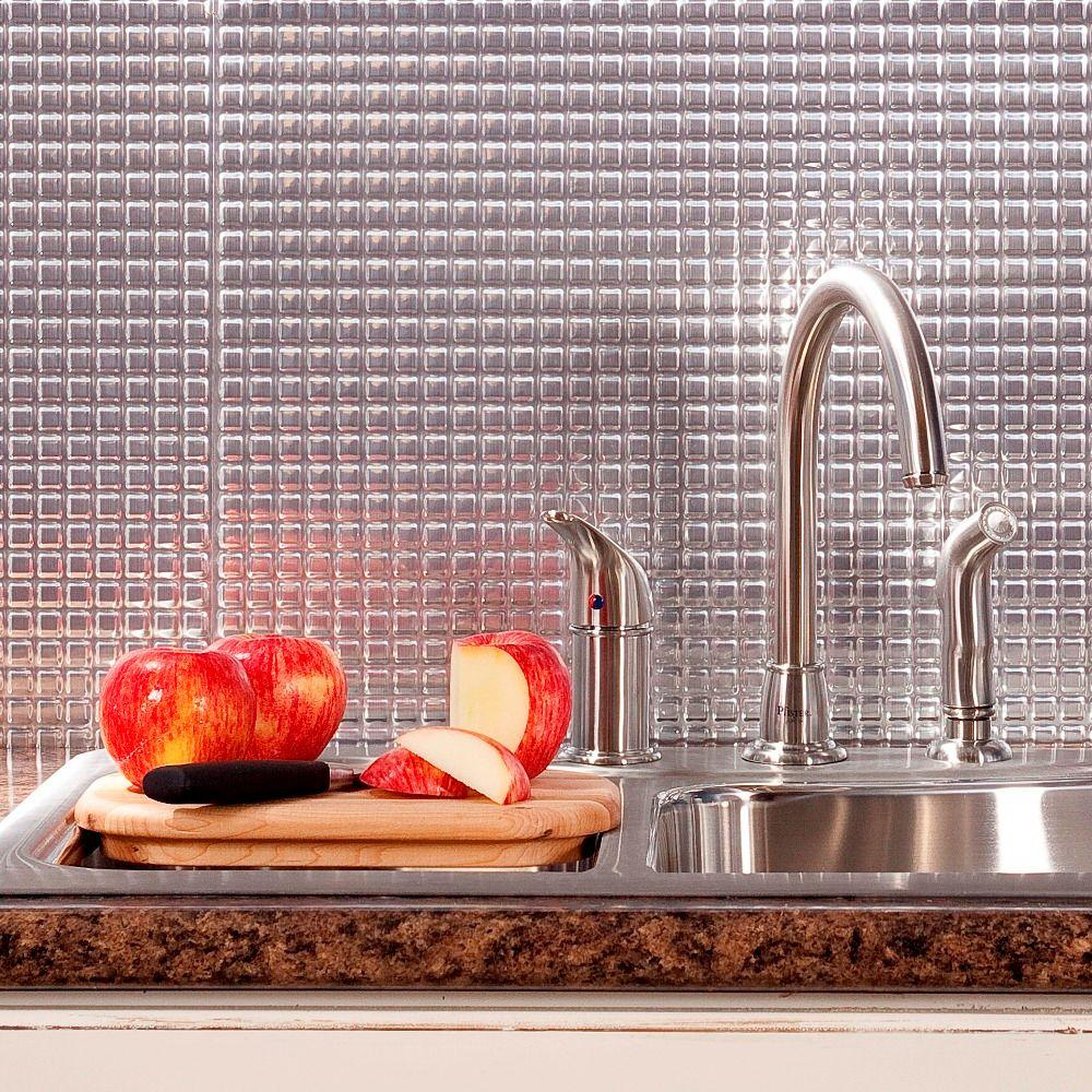 Fasade 24 in x 18 in squares pvc decorative tile backsplash in squares pvc decorative tile backsplash in brushed aluminum doublecrazyfo Images