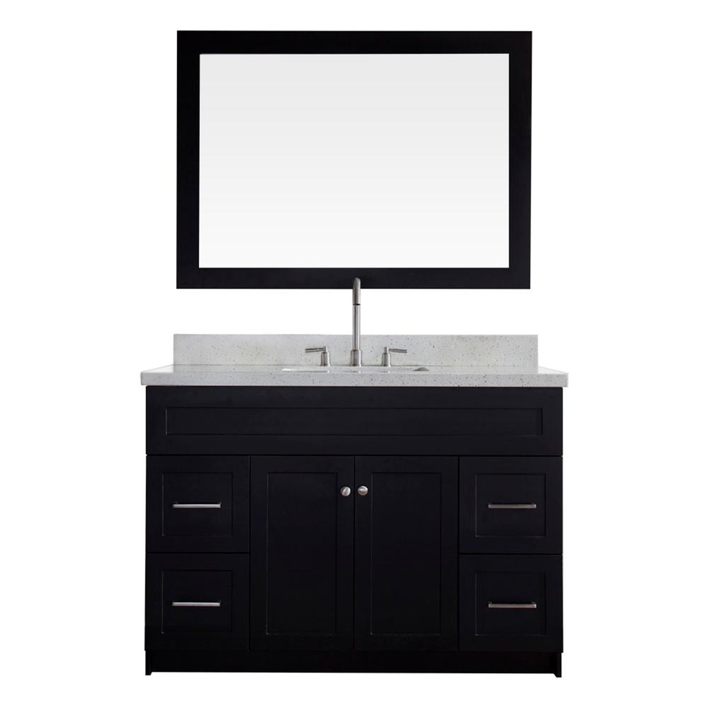Genial Bath Vanity In Black With Quartz Vanity Top In White With
