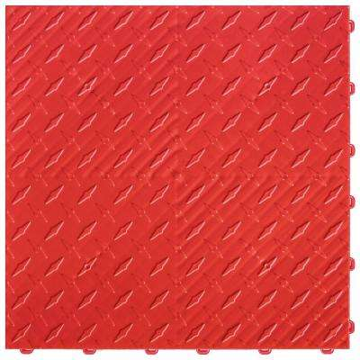 15.75 in. x 15.75 in. Racing Red Diamond Trax 9-Tile Modular Flooring Pack (15.5 sq. ft. / case)