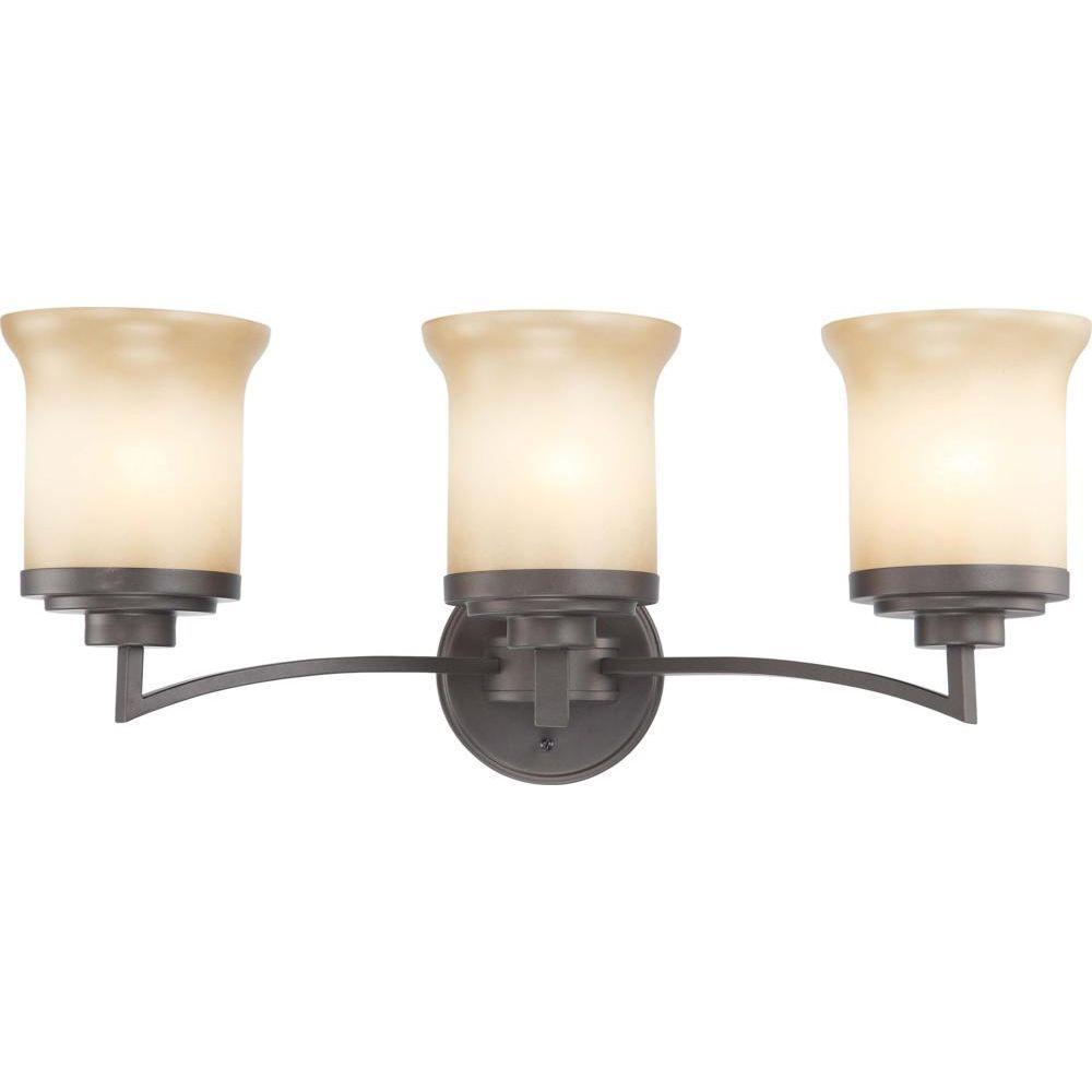 3-Light Dark Chocolate Bronze Vanity Fixture with Saffron Glass