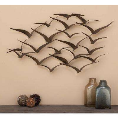 47 in. x 26 in. Brown Iron Flying Birds Wall Decor Modern Metal Wall Art