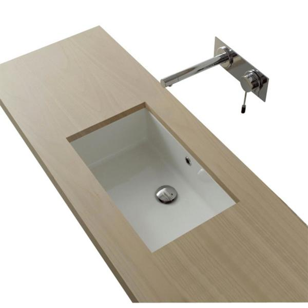 Nameeks Miky Undermount Bathroom Sink in White-Scarabeo ...