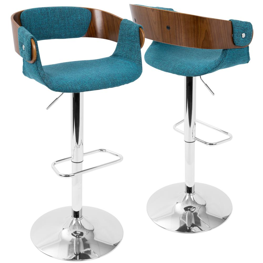 Lumisource Envi Walnut And Teal Adjustable Barstool Bs