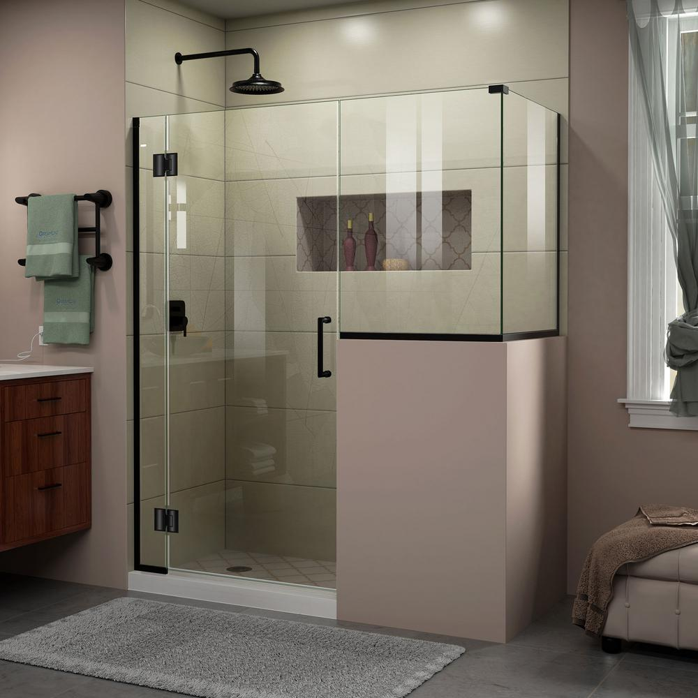 Unidoor-X 57 in. x 72 in. Frameless Corner Hinged Shower Enclosure & DreamLine French Corner 34-1/2 in. x 34-1/2 in. x 72 in. Framed ...