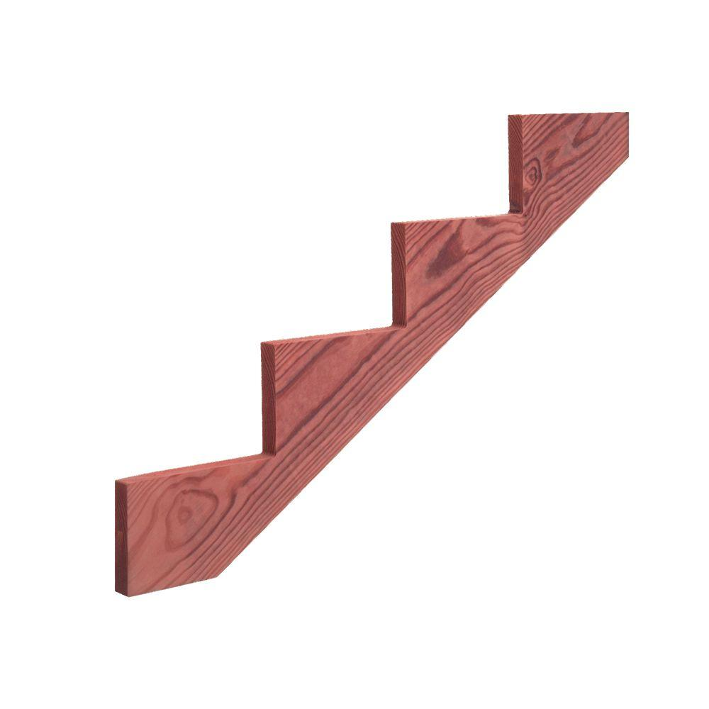 4-Step Redwood-Tone Ground Contact Pressure-Treated Pine Stair Stringer