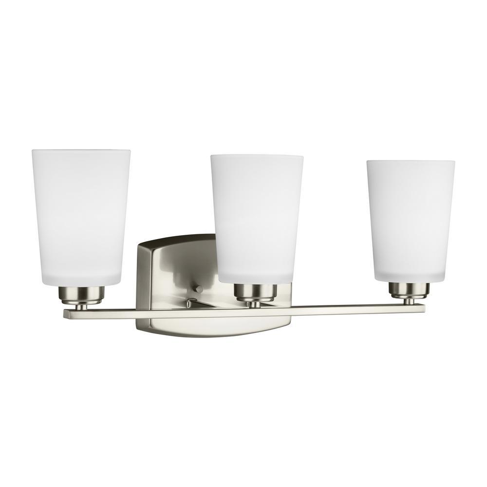 Franport 3-Light Brushed Nickel Bath Light