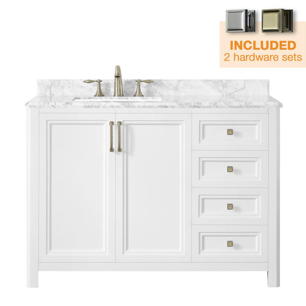 Home Decorators Collection Sandon 48 in. W x 22 in. D Bath Vanity in White with Marble Vanity Top in Carrara White with White Basin