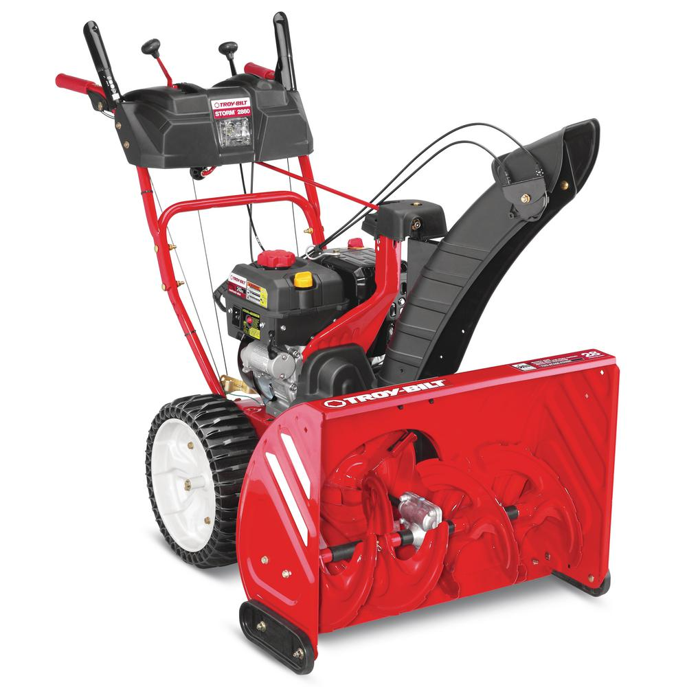 Troy Bilt Storm 28 in. 243cc Two-Stage Electric Start Gas Snow Blower with Heated Grips and Airless Tires