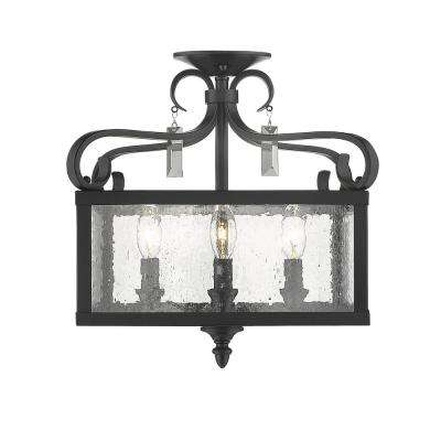 Valencia  4-Light Black Semi-Flush Mount/Pendant Convertible