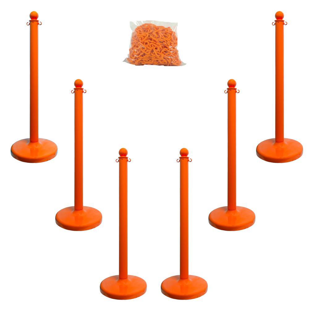 Medium Duty Safety Orange Stanchion and Chain Kit