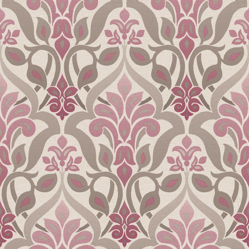 Beacon House Fusion Purple Ombre Damask Wallpaper Sample